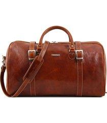 tuscany leather tl1013 berlino - borsa da viaggio in pelle con fibbie - misura grande miele