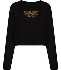 tom ford logo-print long-sleeve sweatshirt - black
