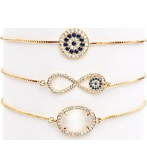 luxe infinity 3-piece 18k goldplated & crystal adjustable bracelet set