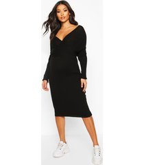 maternity wrap top knitted dress, black