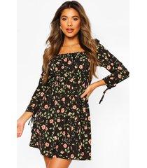 rozenprint mini jurk met driekwarts pofmouwen, black