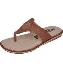 sandália infantil raniel calçados papete chinelo dedo com costura castanho