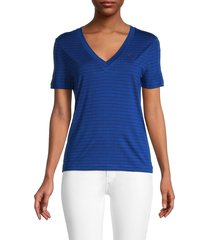 lacoste women's striped v-neck tee - capitaine - size 36 (s)