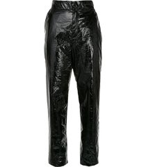 georgia alice naughty high-rise cropped vinyl trousers - black