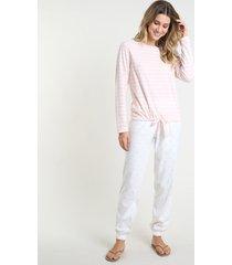 pijama feminino listrado com corações em fleece manga longa rosa claro