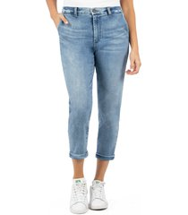 women's kut from the kloth jennifer high waist crop skinny jeans, size 14 - blue