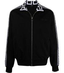 versace motif-print zip-fastening sweater