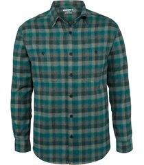 wolverine legend long sleeve flannel shirt blue fir plaid, size xxl