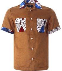 monitaly vacation shirt lt. linen brown x african batic | brown | m29202-brn