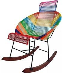 silla mecedora media luna en mimbre plastico o sintetico