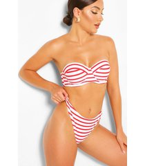mix & match nautical underwired bikini top, red