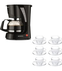 kit 1 cafeteira pratic mondial faz 17 xicaras de cafã© 110v e 1 jogo de 6 xãcaras 90ml com pires - unico - dafiti