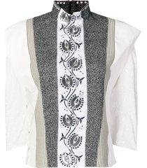 embellished high-neck blouse