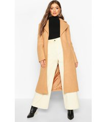 belted collared wrap wool look coat, camel