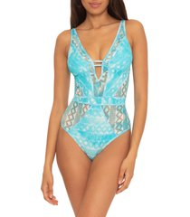 women's becca up in the clouds one-piece swimsuit, size large - blue/green
