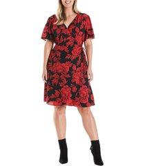 plus size women's estelle crimson garden short sleeve wrap dress