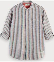scotch & soda overhemd van katoen en linnen | regular fit