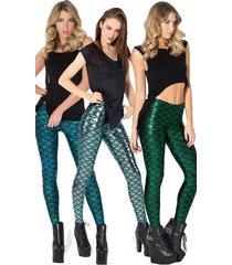 leg17 celebrity fashion trendy jacquard foil metallic neon mermaid leggings