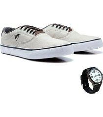 sapatênis polo north masculino lona confortável + relógio - masculino