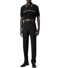 burberry wool knitted pique polo with stripe detail and embroidery