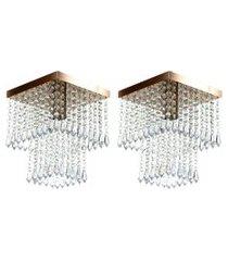 kit 2 lustre de cristal acrilico marrycrilic cobre.