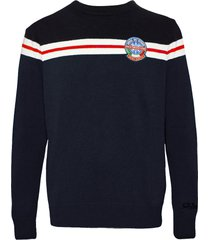 blended cashmere striped blue mans sweater with patch