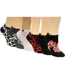 disney women's 6-pk. minnie mouse cheetah no-show socks