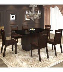 mesa de jantar 6 lugares valsa ameixa/chocolate/preto - mobilarte móveis