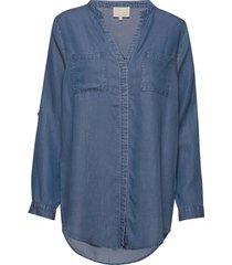 danja tunic shirt blouse lange mouwen blauw minus