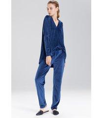 velour long sleeve top pajamas, women's, blue, size l, n natori