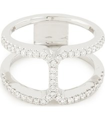 'art deco' diamond 18k white gold cutout ring
