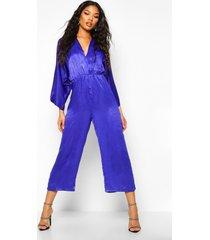 velvet satin kimono sleeve culotte jumpsuit, cobalt