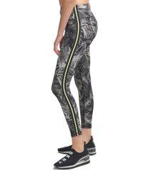 dkny sport pixel palm print high-waist leggings