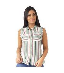 camisa feminina regata listrada listra bolsos casual social