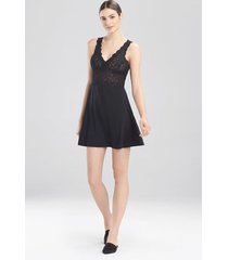 rose parfait essentials chemise pajamas, women's, black, silk, size xl, josie natori