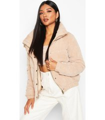 cord panelled puffer jacket, stone