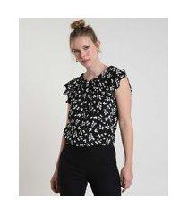blusa feminina básica estampada floral com babado na manga gola laço preta