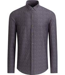 men's bugatchi ooohcotton tech herringbone knit button-up shirt, size small - grey