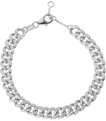 curb chain pave cubic zirconia bracelet in sterling silver