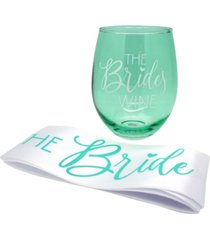 tmd holdings 22oz stemless wine glass with matching bride sash