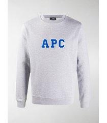 a.p.c. logo embroidered organic cotton sweatshirt