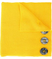 0711 button embellished knitted scarf - yellow