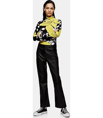*black leather kick flare pants by topshop boutique - black