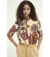maison scotch 161916 hawaii shirt in printed viscose jacquard