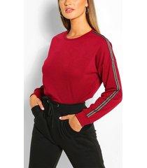 side stripe sweater, wine