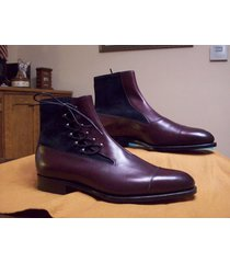 men cap toe ankle high boots maroon leather blue suede casual dress boots handma