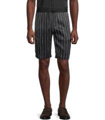 karl lagerfeld paris men's striped flat-front shorts - black - size s