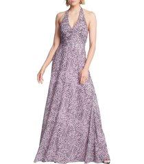 women's halston heritage pleated halter gown