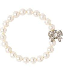 miu miu micro-bow faux-pearl bracelet - white
