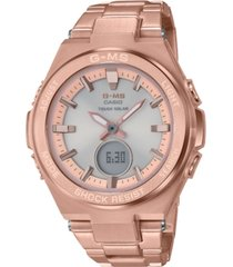 g-ms women's solar analog-digital rose gold-tone stainless steel bracelet watch 38.4mm